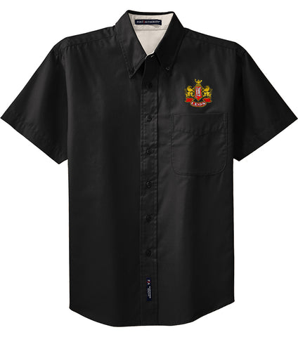 Leon Crest Embroidered Mens Short Sleeve Easy Care Shirt