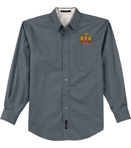 Leon Crest Embroidered Mens Long Sleeve Easy Care Shirt