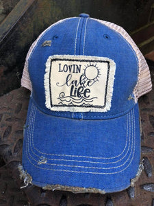 Lovin Lake Life Distressed Patch Hat