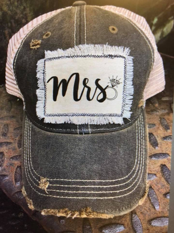 Mrs.  Distressed Patch Hat