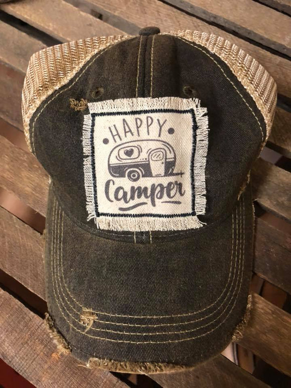 Happy Camper Distressed Patch Hat