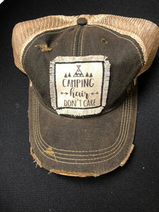 Camping Hair Don't Care Distressed Patch Hat