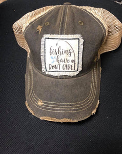 Fishing Hair Don't Care Distressed Patch Hat