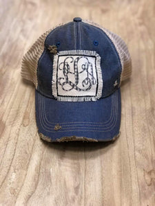 Monogram Distressed Patch Hat