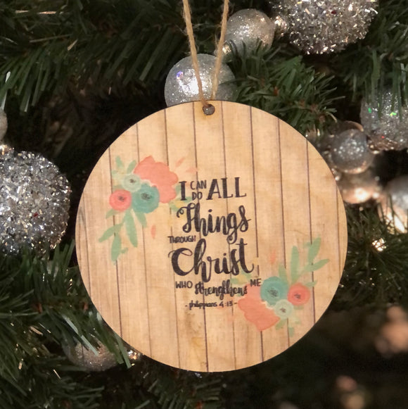 Wooden Ornament — Christ Strengthens