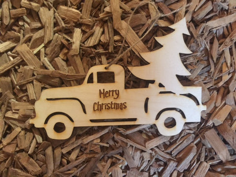 Wooden Christmas Truck Ornament