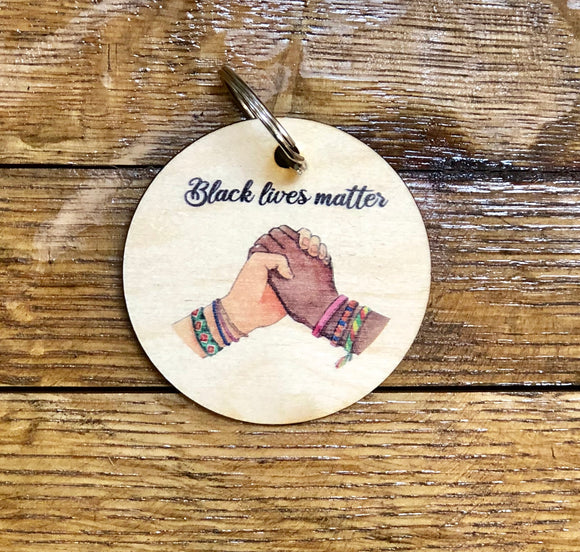 Black Lives Matter Wooden Keychain