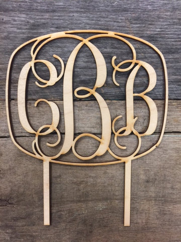 "5"" Monogram Wooden Cake Topper"