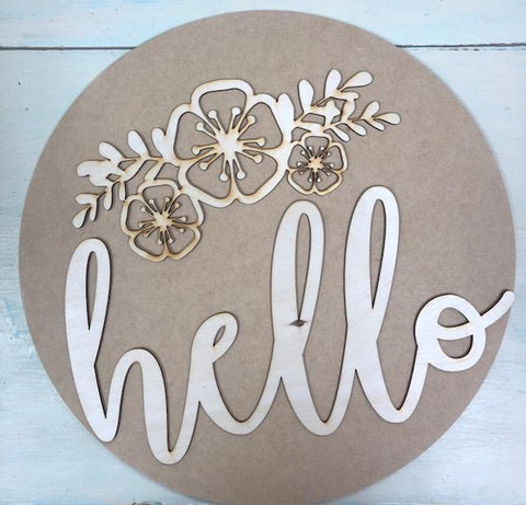 Hello with flowers circle door hanger kit