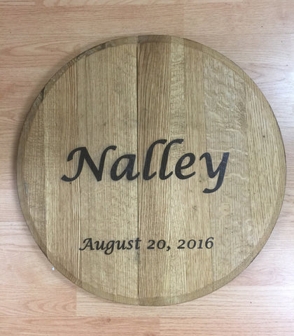 Personalized Bourbon Barrel Top