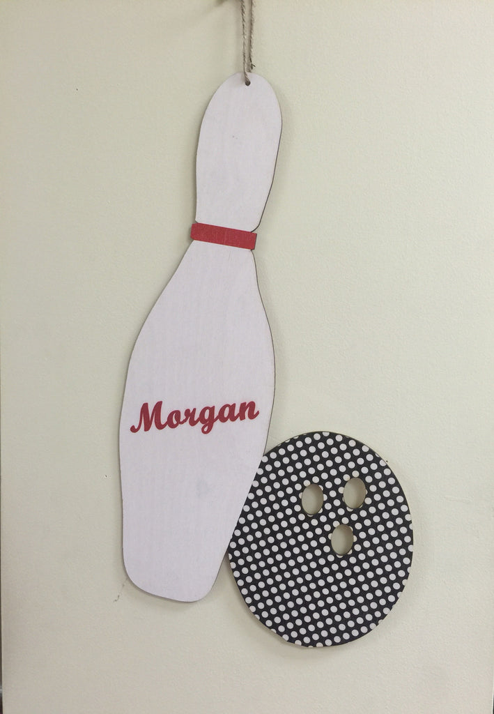 Wooden Bowling Pin and Ball Door Hanger