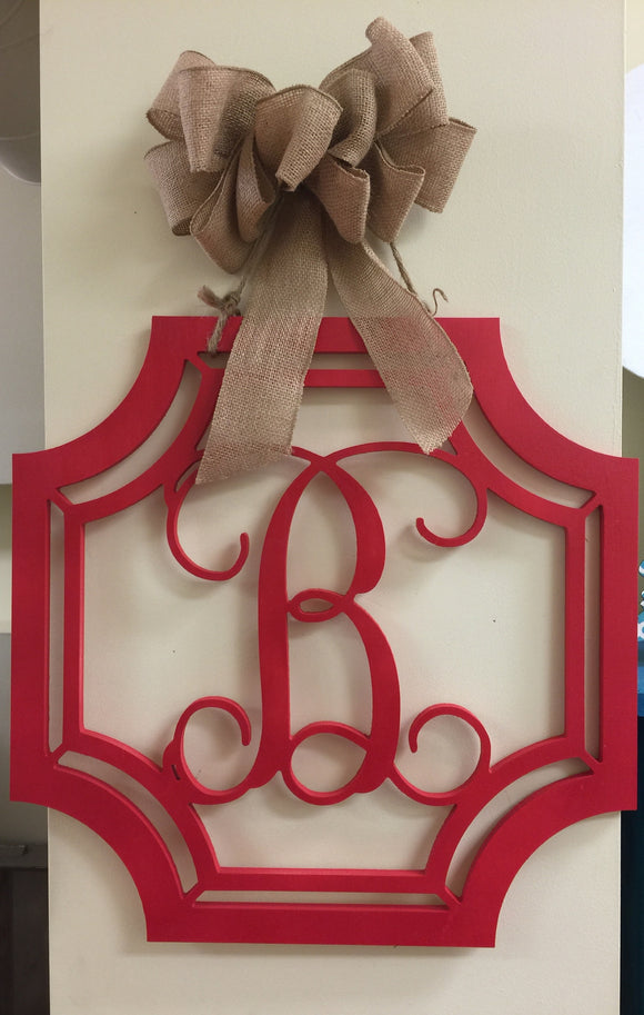 Wooden Initial with Gem Border