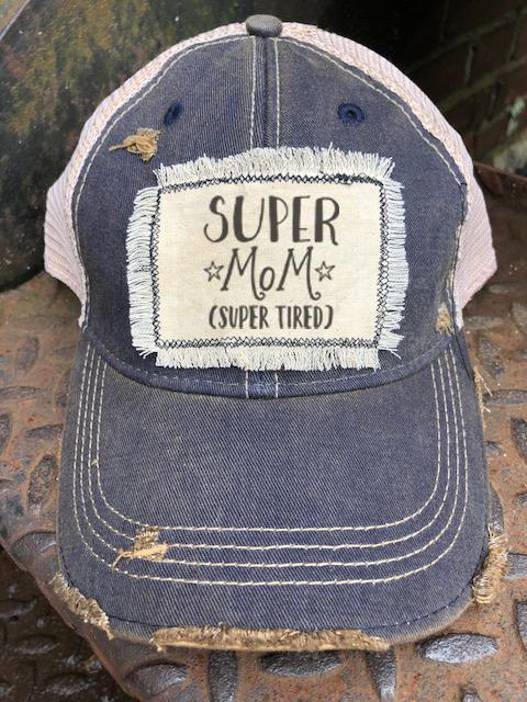 Super Mom Distressed Patch Trucker Hat