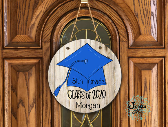 8th Grade Graduate class of 2020 wooden door hanger