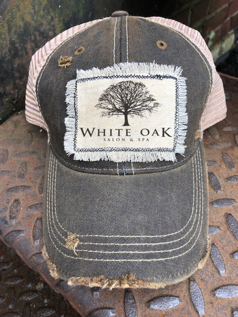 White Oak Salon & Spa Distressed Hat