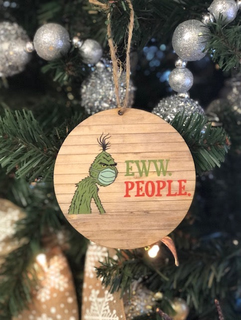Wooden Grinch Eww People Ornament