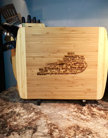 Derby state bamboo cutting board