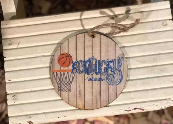 "4"" wooden Kentucky Wildcats basketball ornament"