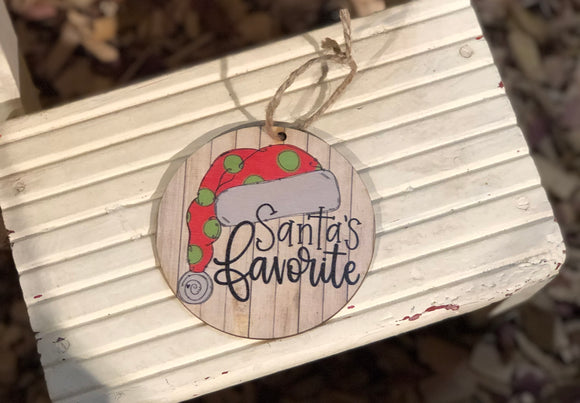"4"" wooden Santas favorite ornament"