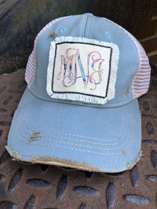 Monogram Fringe patch distressed hat