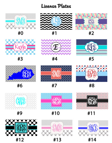 License Plates with Printed Monograms