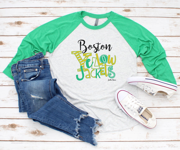 Boston Yellowjackets raglan 3/4 sleeve