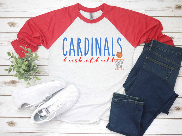 Cardinals basketball 3/4 raglan