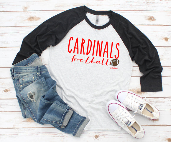 Cardinals football 3/4 raglan