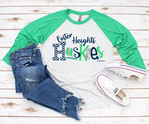 Foster Heights Huskies 3/4 raglan
