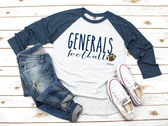 Generals football 3/4 raglan