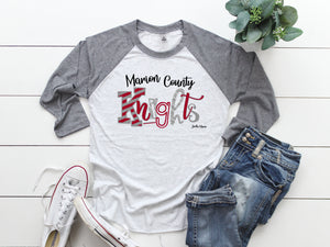 Marion County Knights 3/4 raglan (gray sleeve)