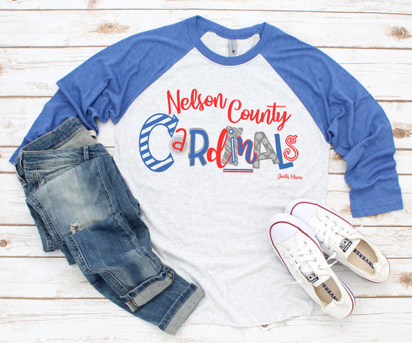 Nelson County blue 3/4 raglan