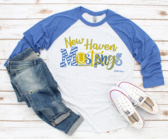 New Haven Mustangs 3/4 raglan