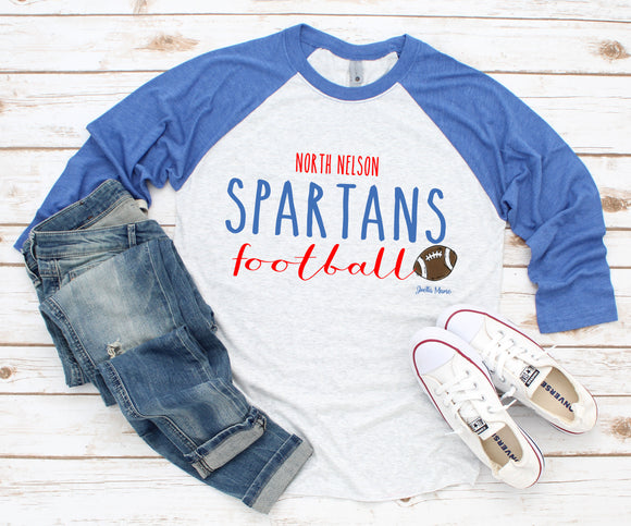 North Nelson Spartans football 3/4 raglan