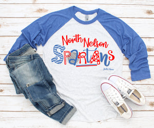 North Nelson Spartans 3/4 raglan