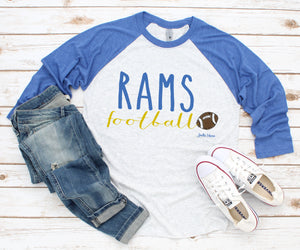 New Haven Rams football 3/4 raglan