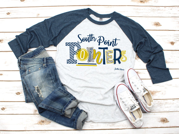 South Point Pointers 3/4 raglan