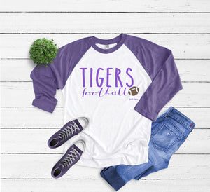 Tigers football 3/4 raglan