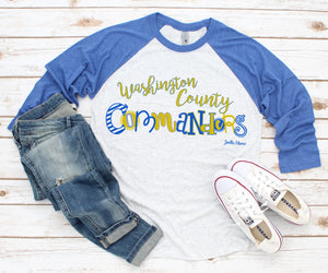 Washington County 3/4 raglan