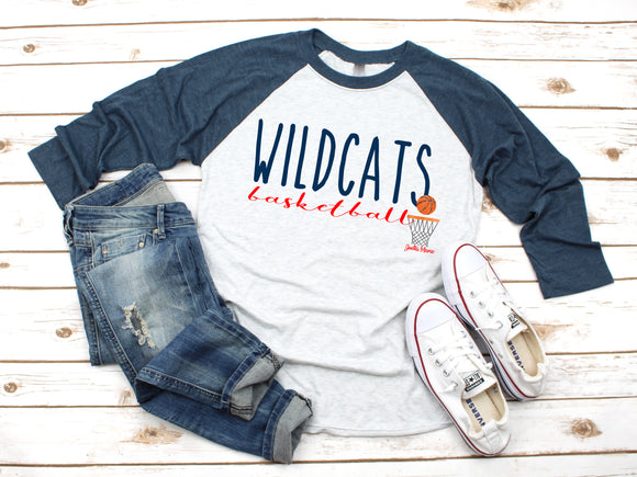 OKH Wildcats basketball 3/4 raglan