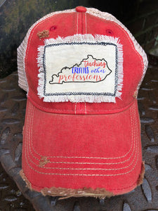 Teacher Distressed Patch Trucker Hat