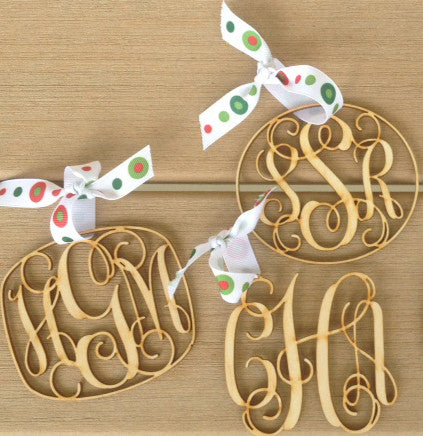 Wooden Monogram Ornaments