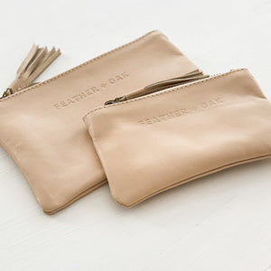 Leather Essentials Zip Purse - Nude Apricot