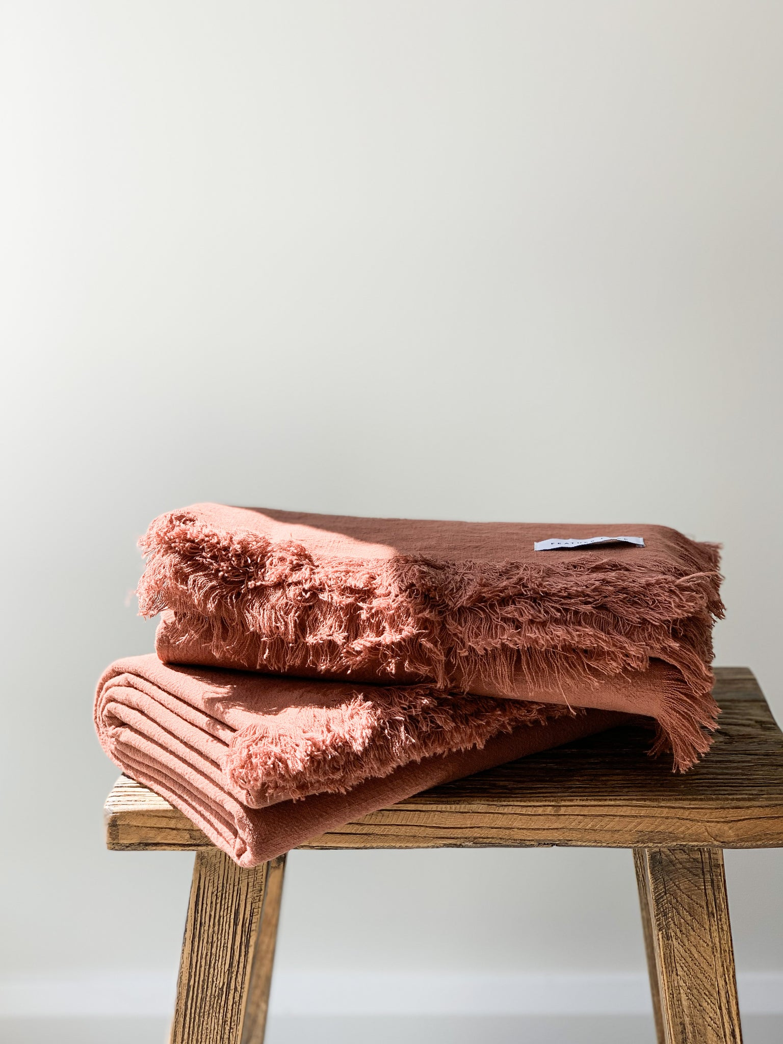 Ramie Fringed Throw - Rust