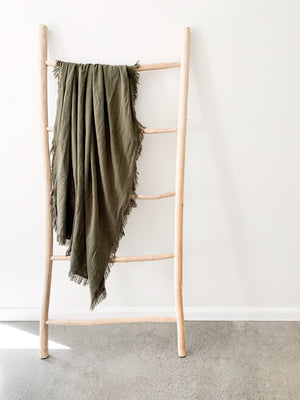 Ramie Fringed Throw - Olive
