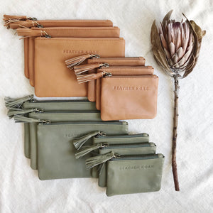 Leather Essentials Zip Purse - Olive