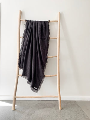 Ramie Fringed Throw - Charcoal