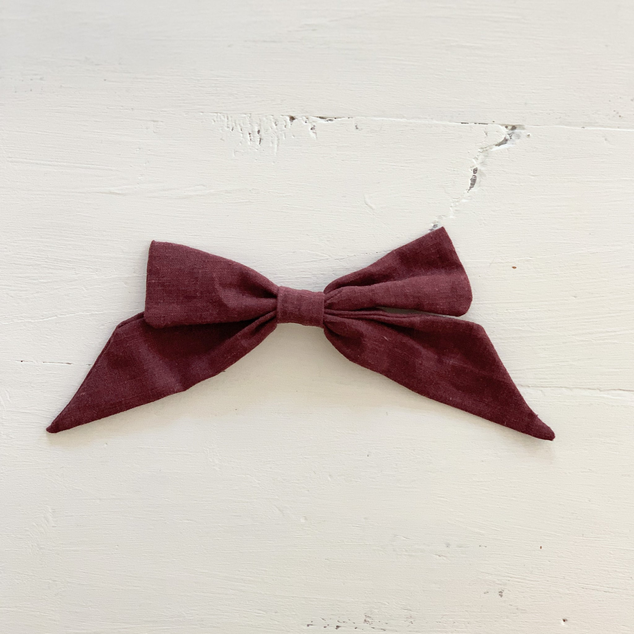 Ramie Hair Bows - Burgundy