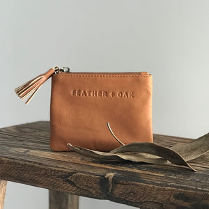 Leather Essentials Zip Purse - Tan