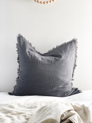Ramie Euro Cushion - Charcoal (last one!)
